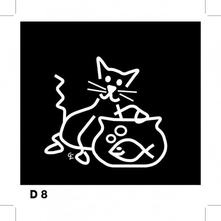 Katt som fiskar - Funky Family - dekaler i unika karaktärer