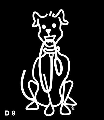 Stor Sittande Hund - Funky Family - dekaler i unika karaktärer