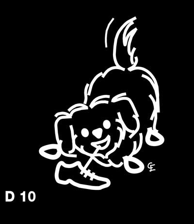 Mindre långhårig hund - Funky Family - dekaler i unika karaktärer
