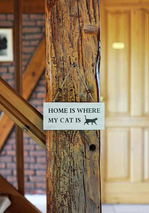 Träskylt Home is where my Cat is