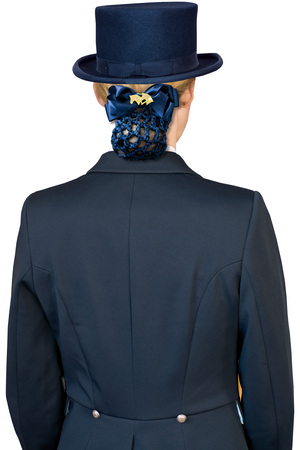 Hårnät med brosch hästhuvuden blå