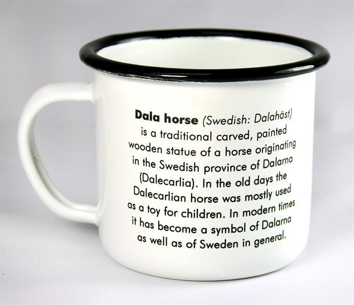 Mugg Dalahäst i emailj med text - Dala Horse mug