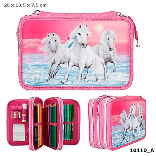 Trippelpennskrin rosa 3 hästar