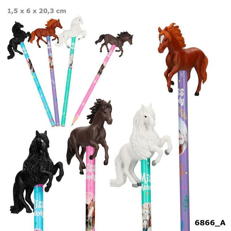 Blyertspenna med 3D hästar