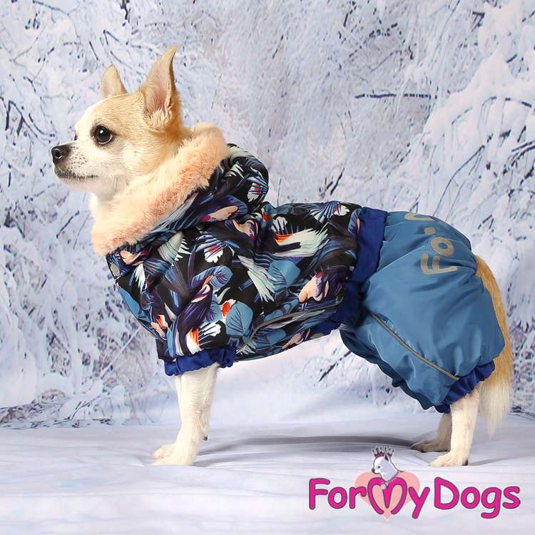 "Varm Vinteroverall ""Blue Pattern"" Hane ""For My Dogs"""