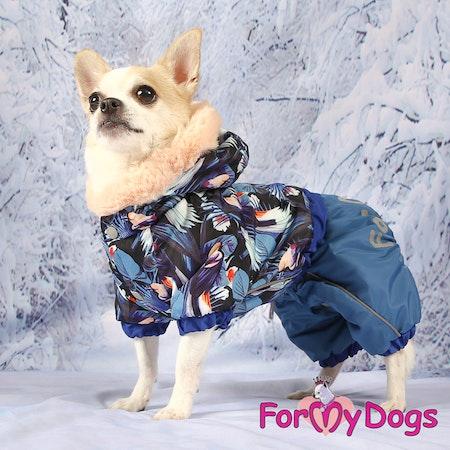 """Varm Vinteroverall """"Blue Pattern"""" Hane """"For My Dogs"""" Modell: små och mediumstora raser LAGERVARA Storlek: 8"""