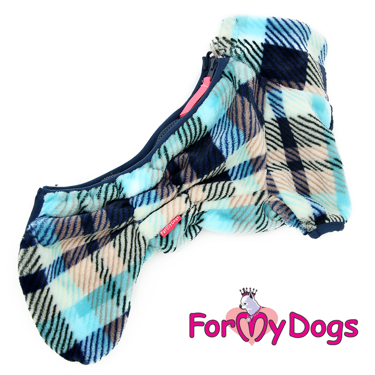 "Fleeceoverall ""Blue Plaid Pattern"" Hane ""For My Dogs"" Modell: Små & mediumstora raser LAGERVARA Storlek: 12"