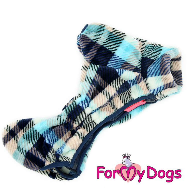 "Fleeceoverall ""Blue Plaid Pattern"" Hane ""For My Dogs"""