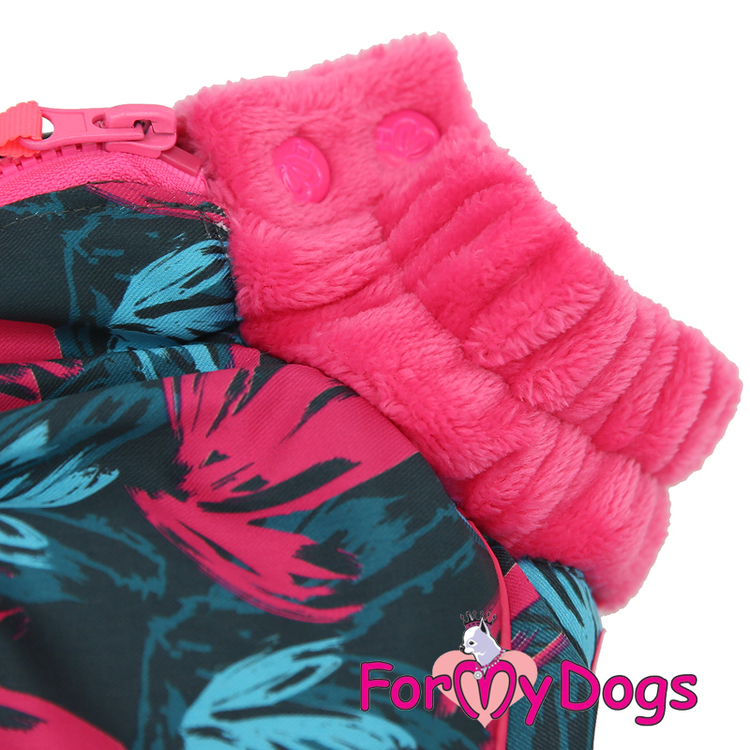 """Varm Vinteroverall """"Pink Leaves"""" Tik """"For My Dogs"""""""