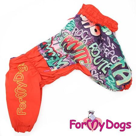 """Regnoverall """"Red"""" Tik """"For My Dogs"""" Modell Bred/djupbröstade hundar Lagervara Storlek: A1"""