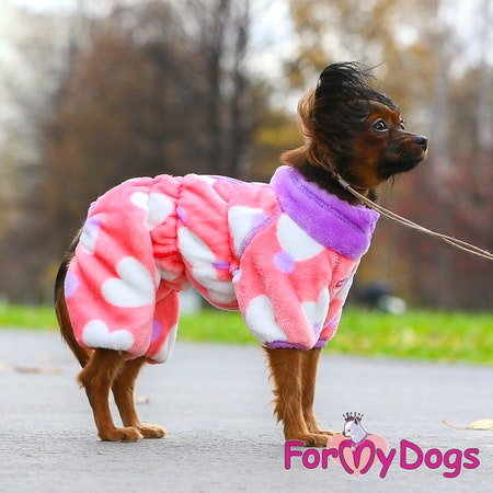 "Fleece Overall ""PINK HEART"" Tik"" For My Dogs"""