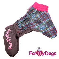 "Varm Vinteroverall ""Grå/rosa"" Tik ""For My Dogs"""