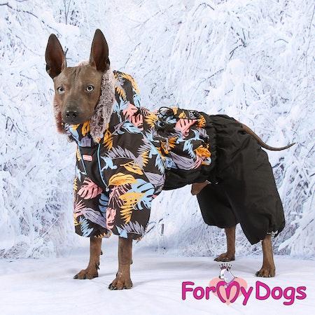"""Varm Vinteroverall """"Black Leaves"""" Hane """"For My Dogs"""" Modell: små och mediumstora raser LAGERVARA Storlek: 10"""