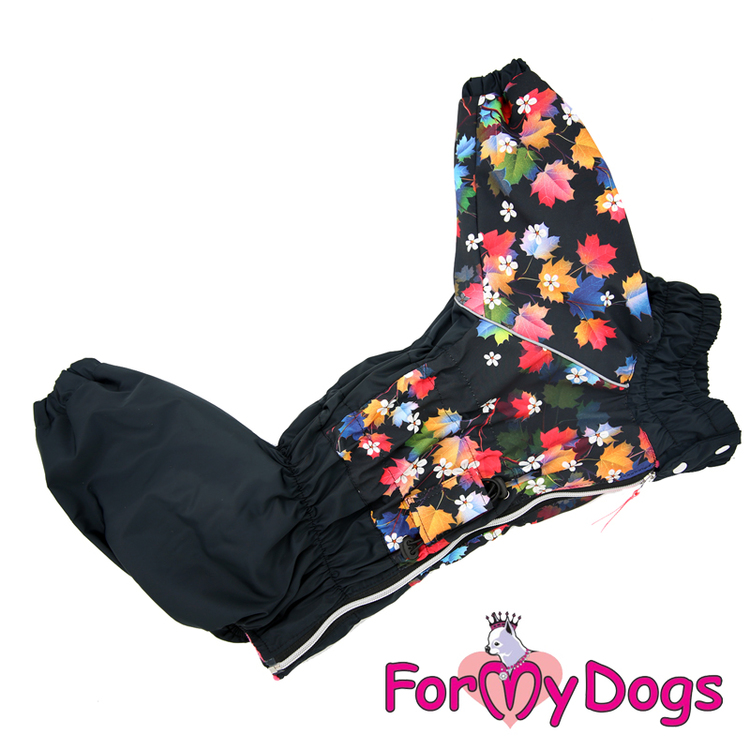 "Vinteroverall ""Black Flowers and Leaves"" Tik ""For My Dogs"" Modell Medium till Stora raser LAGERVARA Storlek: A3"