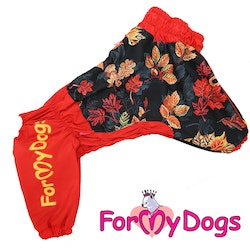 "Regnoverall ""Red Leaves"" Tik ""For My Dogs"" Modell Medium till Stora raser LAGERVARA Storlek: A3"