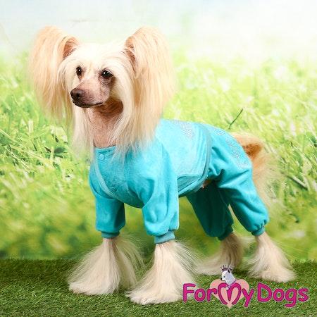 """Suit velour Trikåoverall Turkosblå med strass """"Razzle Dazzle"""" Unisex """"For My Dogs"""" Modell Små och Mediumstora raser Lagervara Storlek: 8"""