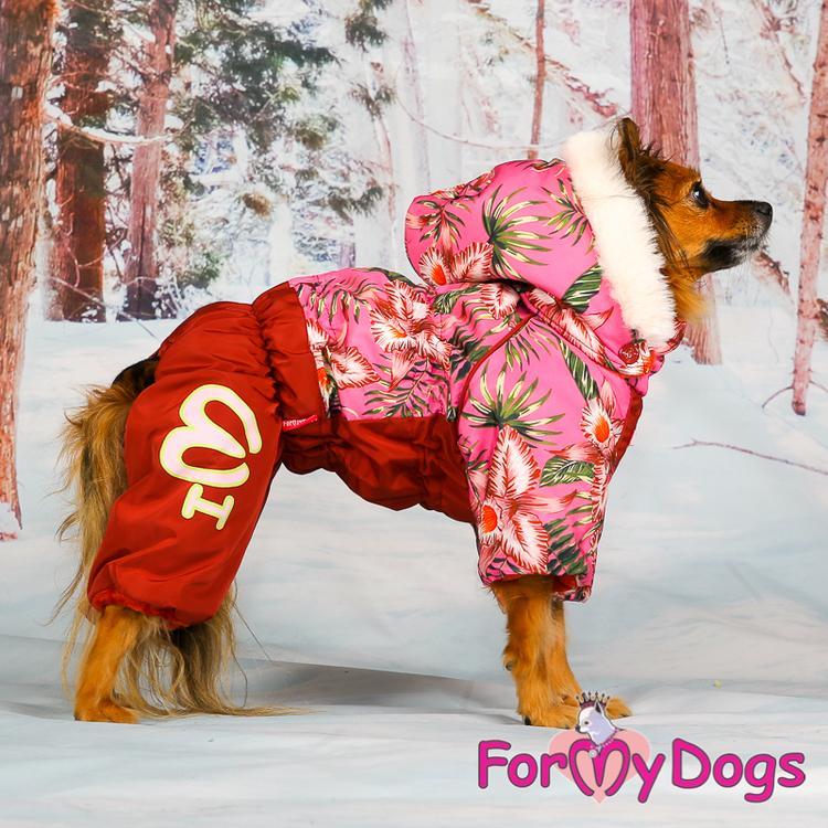 "Varm Vinteroverall ""Rosa Blommor"" Tik "" For My Dogs"""