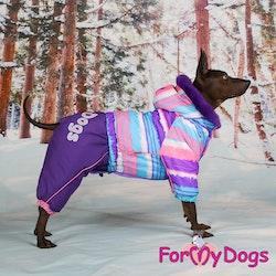 "Varm Vinteroverall ""Lila Ränder"" Tik "" For My Dogs"""