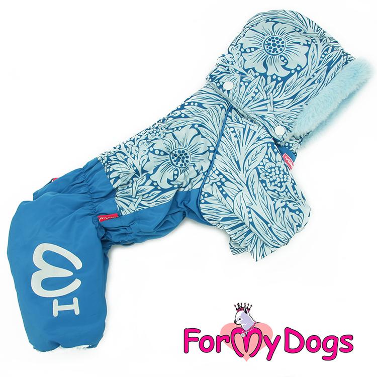 "Varm Vinteroverall ""Blå blomma relief"" Hane ""For My Dogs"""