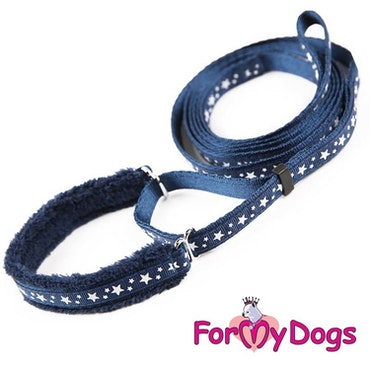"Collar & Leash, Halsband & Koppel i ett ""Blå Stjärna"" Unisex ""For My Dogs"""