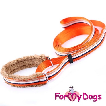 "Collar & Leash, Halsband & Koppel i ett ""Orange Randig"" Unisex ""For My Dogs"""