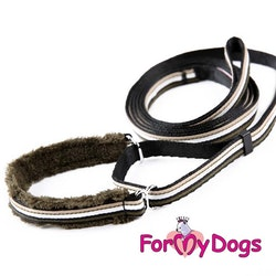 "Collar & Leash, Halsband & Koppel i ett ""Khaki Randig"" Unisex ""For My Dogs"""