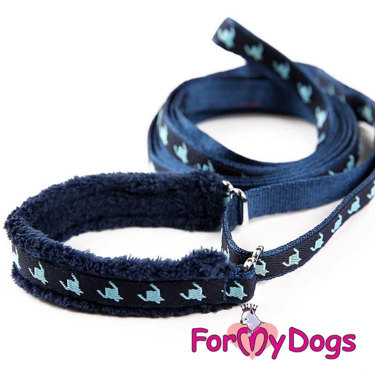 """Collar & Leash, Halsband & Koppel i ett """"Blå Mönstrad"""" Unisex """"For My Dogs"""""""