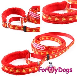"Collar & Leash, Halsband & Koppel i ett ""Orangeröd Mönstrad"" Unisex ""For My Dogs"""