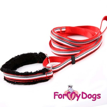"Collar & Leash, Halsband & Koppel i ett ""Röd Randig"" Unisex ""For My Dogs"""