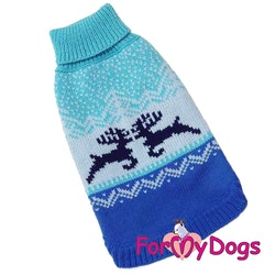 "Stickad Tröja ""Blue Reindeer"" unisex ""For My Dogs"""