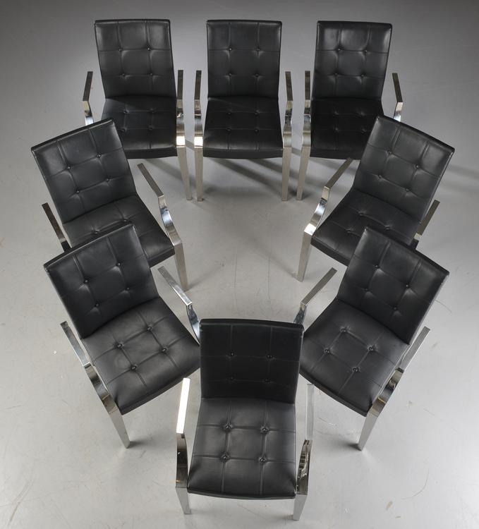 8 x Stühle, Driade Monseigneur Schwarzes Leder - Philippe Starck