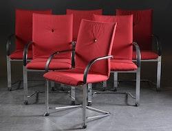 6 x Konferenzstühle, Fritz Hansen SPIN - Schwartz und Rot