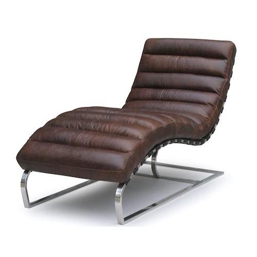 Ganz neu, Chaise Lounge - Braun Leder