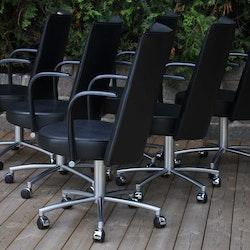 6 x Konferenzstühle, Erik Jörgensen EJ-80 B Partner Leder