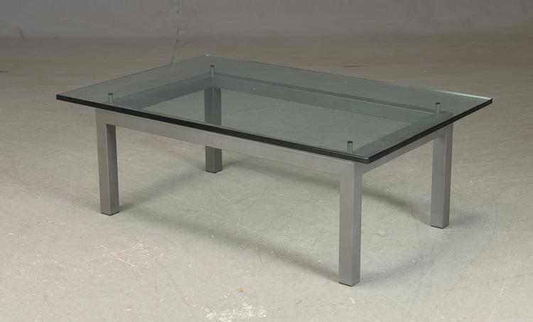 Couchtisch mit Glasplatte und Stahl - 130 cm