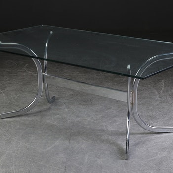 Couchtisch, Glasplatte & Chromgestell - 140 cm