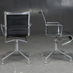 3 x konferenzstuhl, Alias 437 Meetingframe - Schwarzes Leder