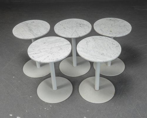5 x cafétisch aus Marmor mit Metallfuß