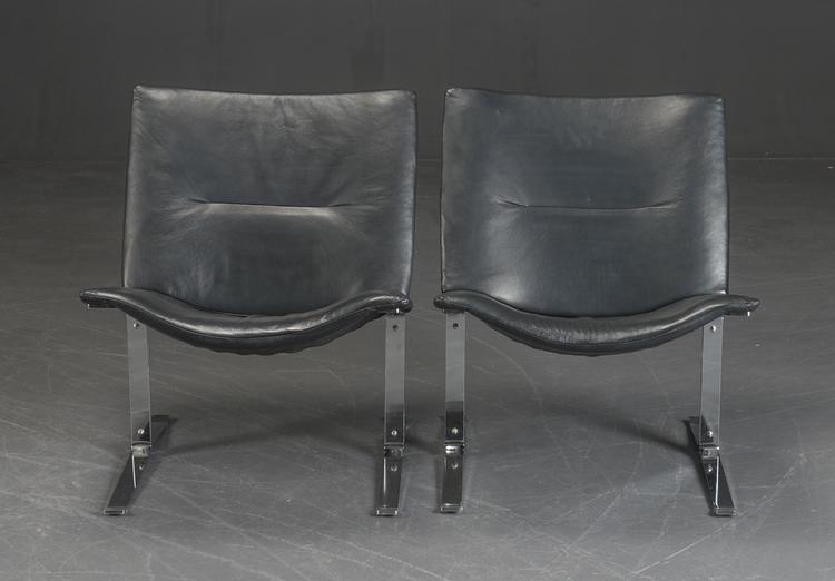 4 x vintage Sessel aus schwarzem Leder & Chrom - 1970er Jahre