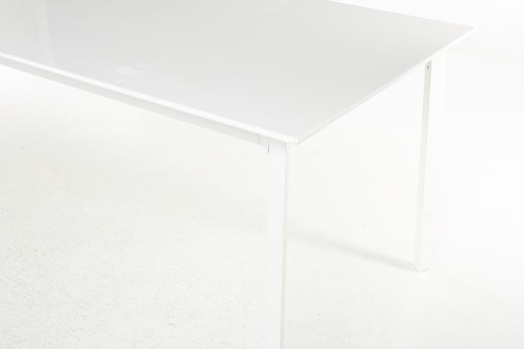 Konferenztisch, weißes Laminat & Stahl - 280 x 90 cm