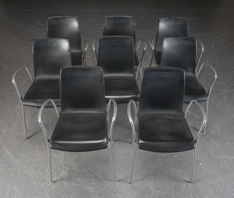 8 x konferenzstühle, Akaba Gorka - Schwarzes Leder - Jorge Pensi