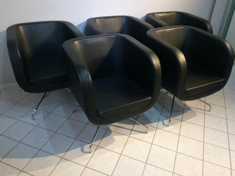 5 x Sessel, Skandiform Lounge - Schwarzes Leder