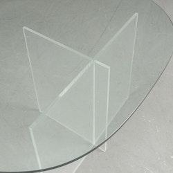Couchtisch mit Ständer aus Plexiglas & Glasplatte