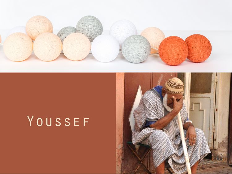 Happy Lights Youssef 35 ljusbollar (ljus grå, orange, vit, beige)