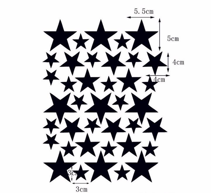 Väggklistermärken grå stjärnor 39 st