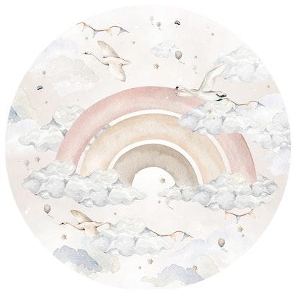 Dekornik ,pink rainbow in a circle, väggklistermärken till barnrum