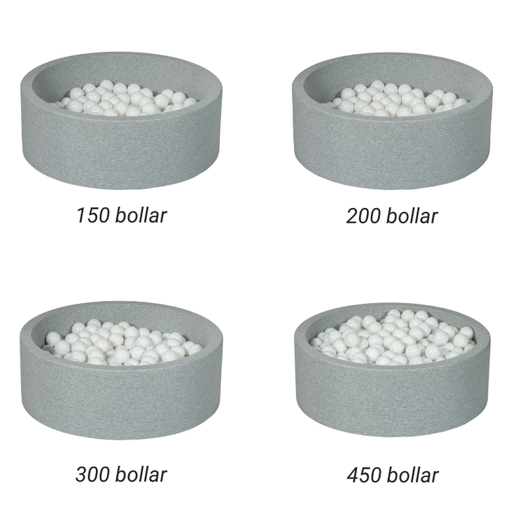 Ljusgrå bollhav BASIC, 90x30 med bollar (blå, grå, rosa, vit)
