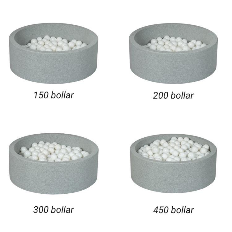 Ljusgrå bollhav BASIC, 90x30 med bollar (rosa, silver, pearl)