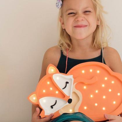 Nattlampa till barnrummet Lampa orange räv lampa, Little Lights