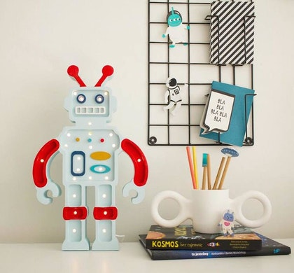 Nattlampa till barnrummet Metallic Blue robot, Little Lights